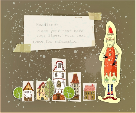 home school: City background with Santa  Illustration