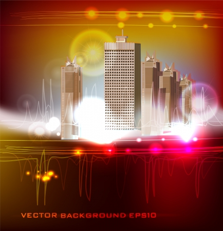 arhitecture: neon background with modern arhitecture