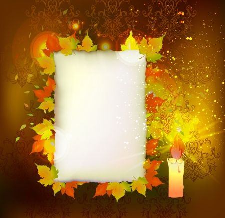 Autumn background with paper template and candle Vector