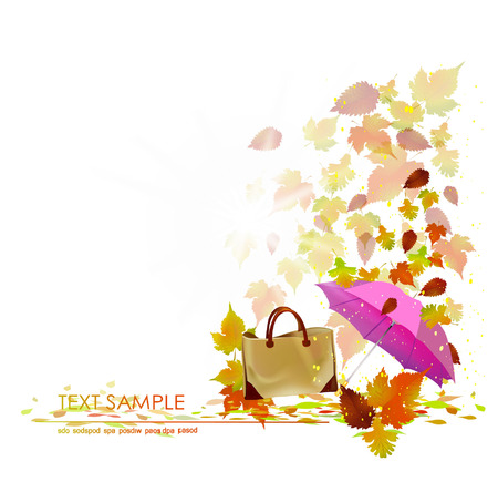 Autumn background with lady bag Vector