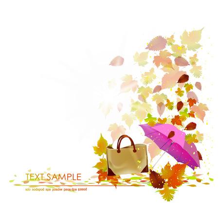 marple: Autumn background with lady bag Illustration