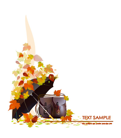 Autumn background with bag Vector