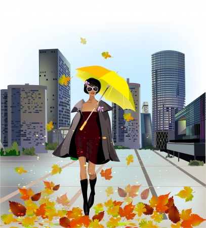 Young woman in the modern city Vector