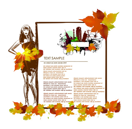 botany woman: Autumn background with web page template Illustration