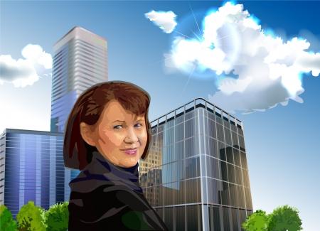 peering: woman in the city