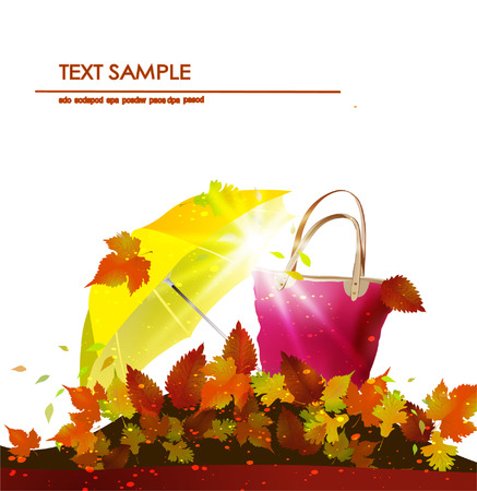 Autumn with bag and umbrella Vector