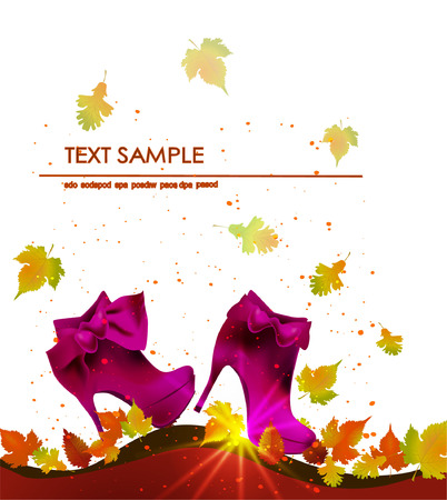 sexy umbrella: Autumn background with shoes Illustration