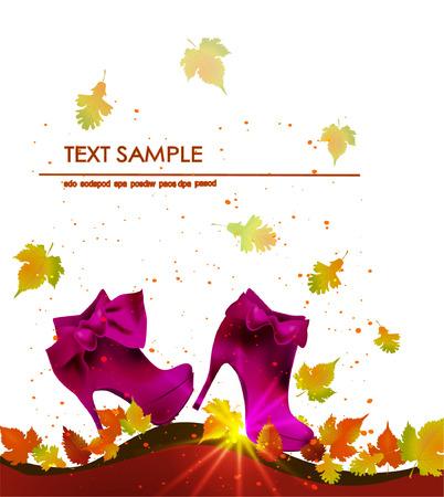 botany woman: Autumn background with shoes Illustration