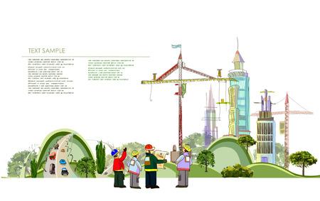 Fondo de la ciudad con la obra de construcción Foto de archivo - 24188384
