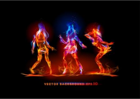 dansen girld gemaakt van vlam