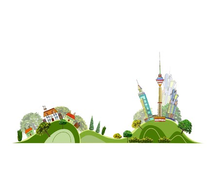 green road: City and village illustration City line collection Illustration