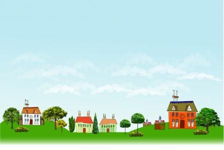 web design bridge: village illustration City line collection Illustration