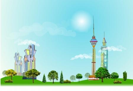 web design bridge: City and village illustration, City line collection Illustration