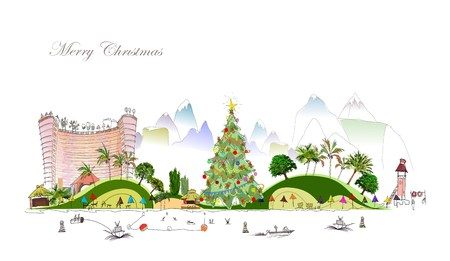City line collection Christmas on the beach Vector
