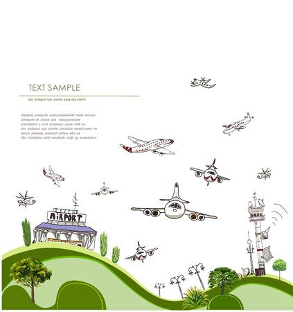 Luchthaven illustratie Stock Illustratie