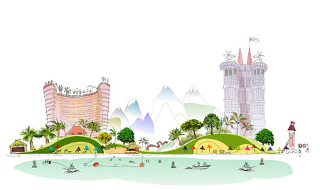 untouched: Luxury beach club hotel illustration City line collection