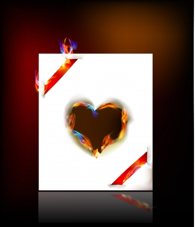 felling: Paper background with Heart burned shape and red ribbons