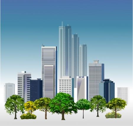 headquarter: Business center Modern city illustration