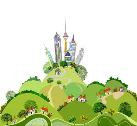 compile: Modern city and country side illustration Illustration