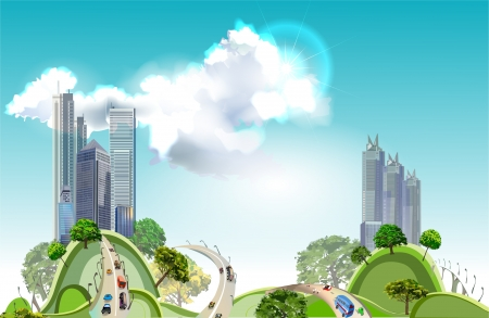 office environment: Modern city and busy roads background