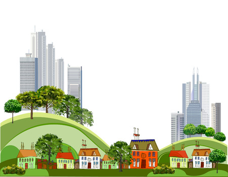 country side: Modern city and country side