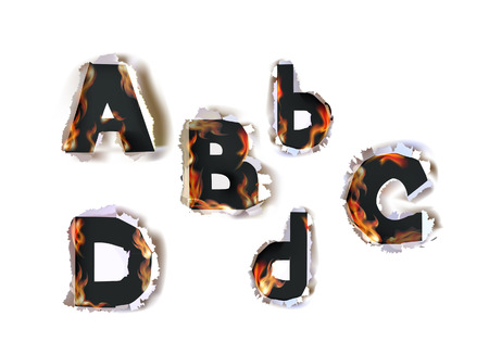 Ripped paper alphabet and fire Vector