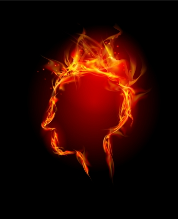 Fire collection Human head, thinking concept