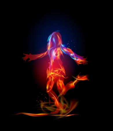 Fire collection Dancing girl Vector