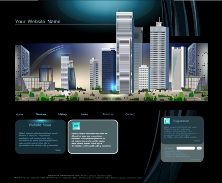 real estate background: Web page template with modern city Illustration