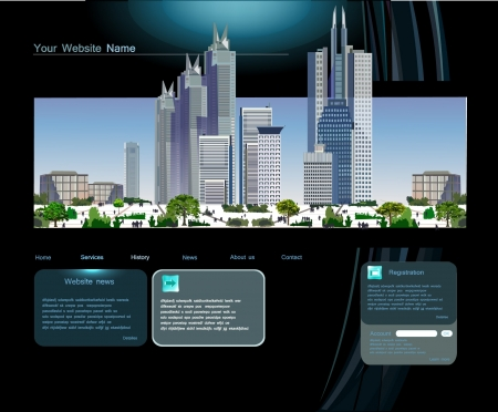 for rent sign: Web page template with modern city Illustration
