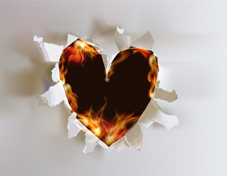 Ripped paper collection, Heart in flames  Vector