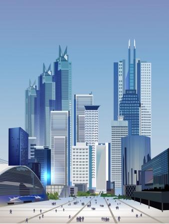 近代都市図  イラスト・ベクター素材