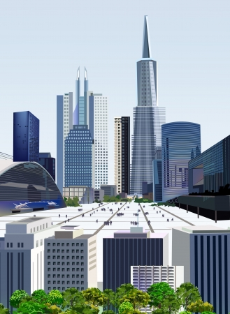 tall buildings: Modern city illustration  Illustration