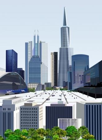 bank building: Modern city illustration  Illustration