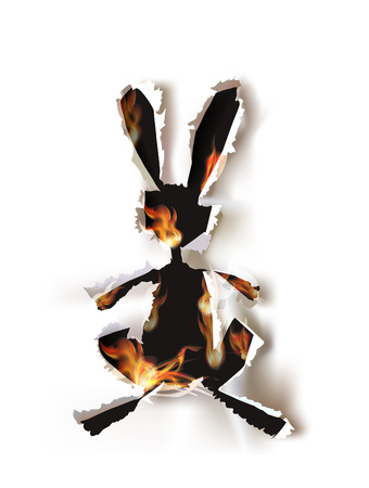 Ripped paper collection, Bunny in flames  Vector