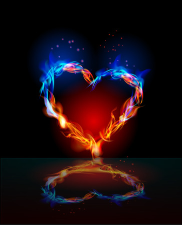 Heart made of fire, love concept, valentines