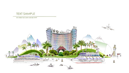 untouched: City collection  Beach Hotel, travel holidays concept  Illustration