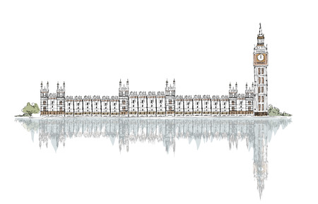 parliament: sketch of Houses of Parliament and Big Ben, London,