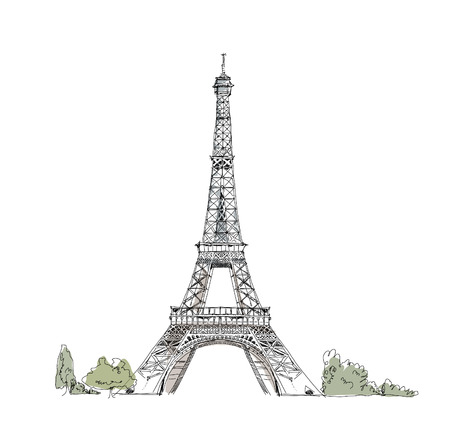 sightseeings: Eiffel tower, Paris Illustration