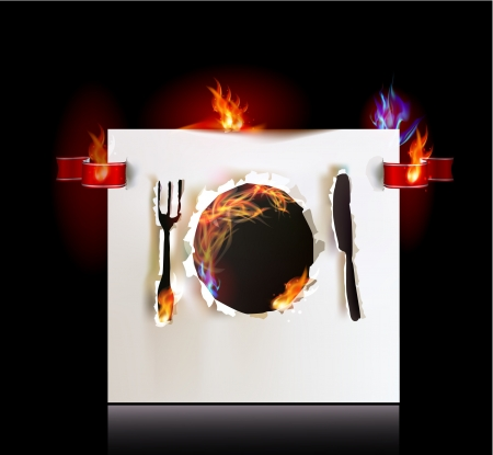 Hot menu illustration Ripped paper collection Vector