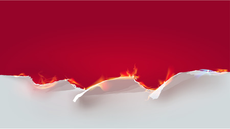Ripped paper background with flames Vector