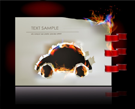 ripped paper background: Ripped paper background with flames and car Illustration