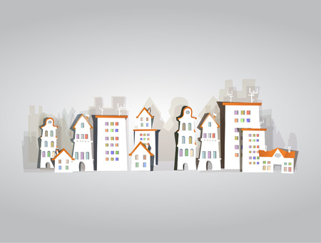 Abstract city, White city collection, background made of paper stickers Vector