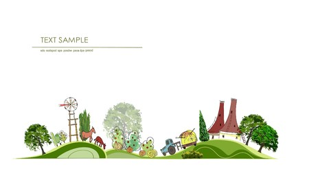 Farmyard, Farm illustration, City collection