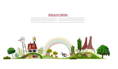 farmyard: Farmyard, Farm illustration, City collection
