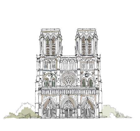 ノートルダム大聖堂、パリ、スケッチのコレクション 写真素材 - 25633218