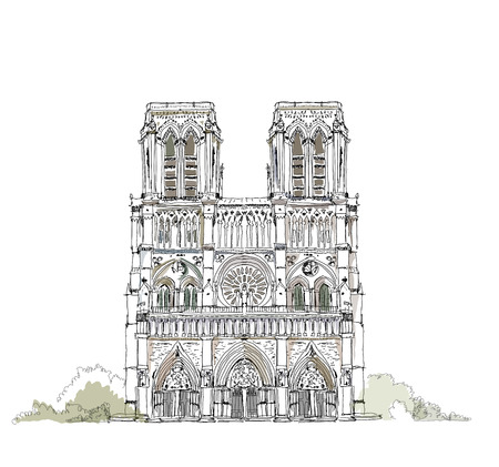 Notre-Dame, Paris, Sketch collection Vector