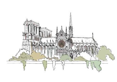 building sketch: Notre Dame, Paris Sketch collection Illustration