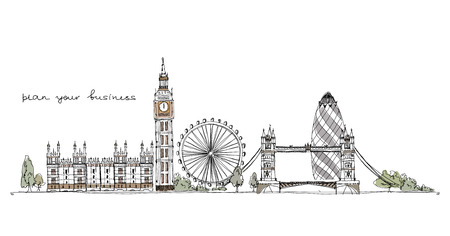 london tower bridge: London illustration, Sketch collection