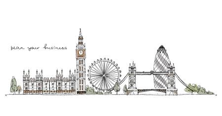 Londra illustrazione, collezione Sketch Archivio Fotografico - 26015768